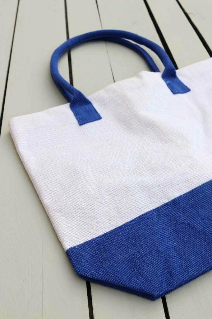 tote bag jute bleu blanc